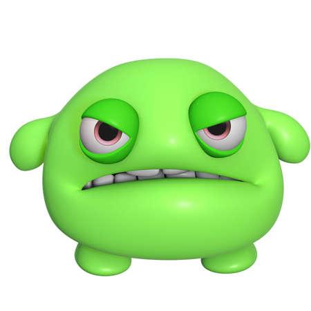 3d scary: 3d cartoon cute green monster Stock Photo