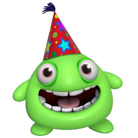 3d cartoon cute holiday green monster photo
