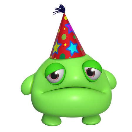 birthday hat: 3d cartoon cute holiday green monster