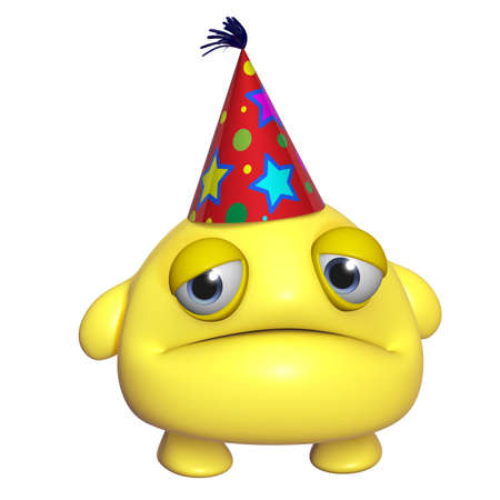 3d cartoon cute holiday yellow monster photo