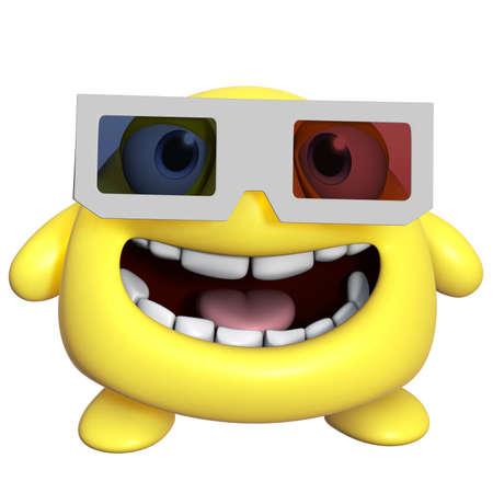 3d cartoon cute yellow monster photo