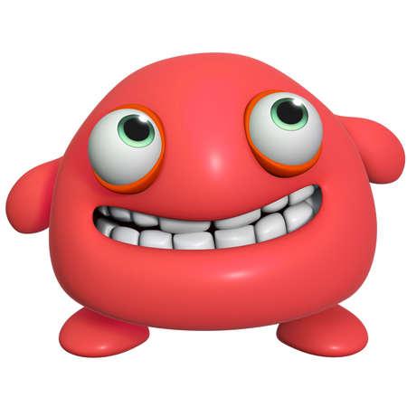 cartoon monster: 3d cartoon cute red monster