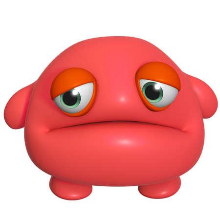 3d cartoon cute red monster photo