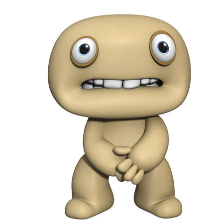 creature of fantasy: 3d cartoon cute brown man Stock Photo