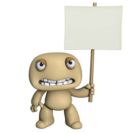 3d cartoon cute man holding placard photo