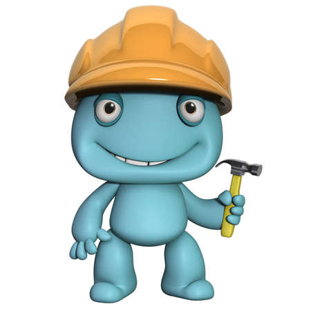 3d cartoon cute builder with helmet photo