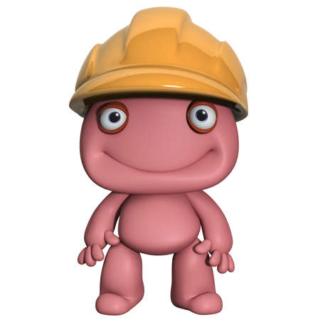 3d cartoon cute man with hat photo