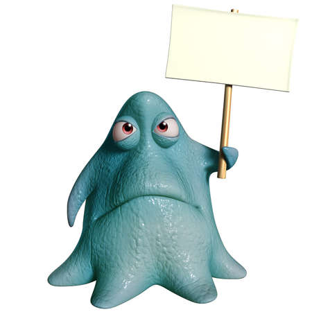 3d cartoon octopus monster holding placard photo