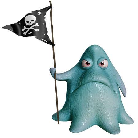 poisonous organism: 3d cartoon octopus monster Stock Photo