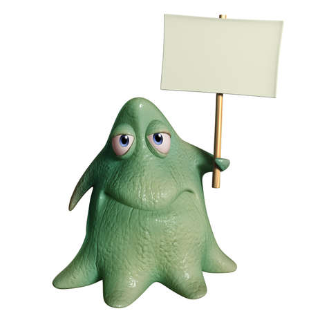 slime: 3d cartoon octopus monster holding placard