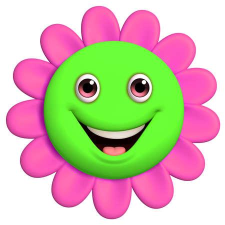 pelota caricatura: 3D de dibujos animados lindo de la flor Foto de archivo