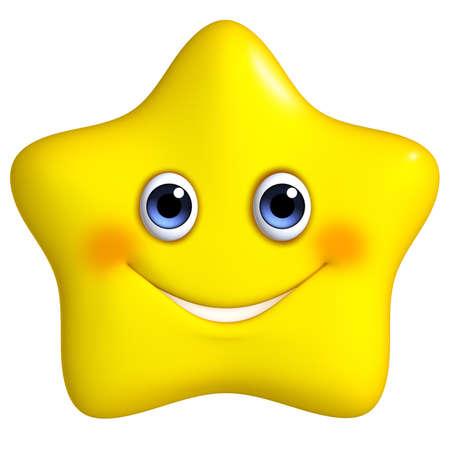 cartoon face: 3d cartoon yellow star