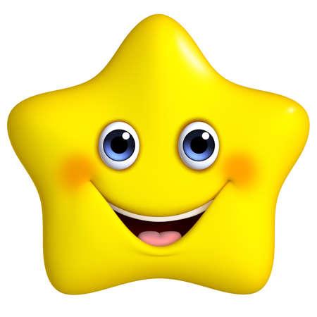 estrella caricatura: 3D de dibujos animados estrella amarilla