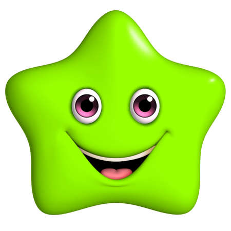 3d cartoon cute green star Stok Fotoğraf