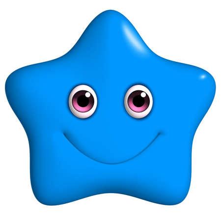 stars cartoon: 3d cartoon cute blue star Stock Photo