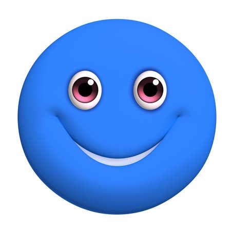 blue smiling: 3d cartoon cute blue ball