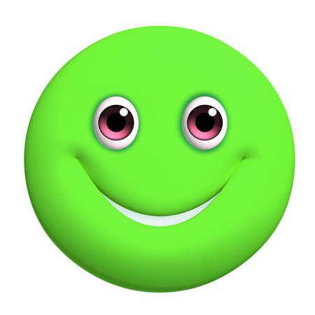green smiley face: 3d cartoon cute green ball