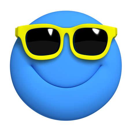 cara sonriente: 3d dibujos animados lindo azul bola