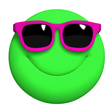 green face: 3d cartoon cute green ball