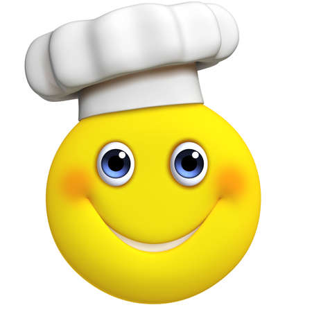 breakfast smiley face: 3d cartoon cute chef Stock Photo