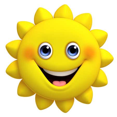 cara sonriente: 3D de dibujos animados lindo del sol Foto de archivo