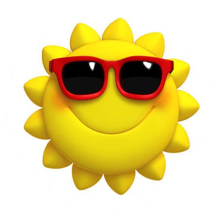 happy emoticon: 3d cartoon cute sun