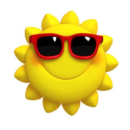 sol caricatura: 3D de dibujos animados lindo del sol Foto de archivo