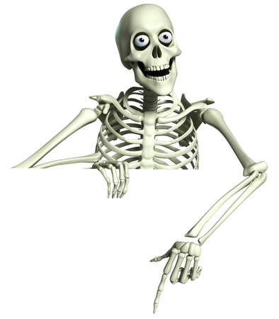 3d scary: 3d cartoon skeleton