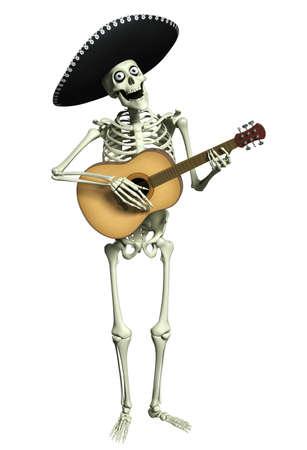 skull character: 3d cartoon skeleton Mariachi