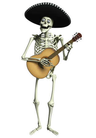3d cartoon skeleton Mariachi photo