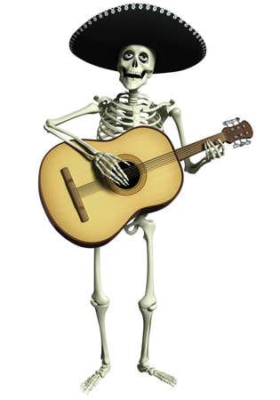 scheletro umano: 3d cartoon scheletro Mariachi