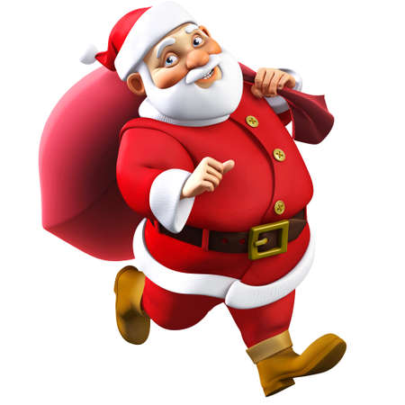 3d cartoon santa with a bag