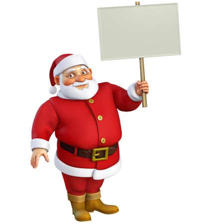 christmas characters: 3d cartoon santa holding placard