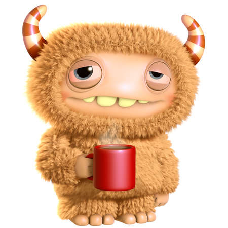 hairy adorable: 3d cartoon monster
