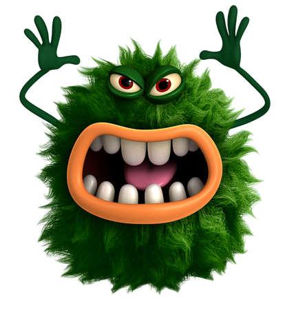amused: green cartoon hairy monster 3d