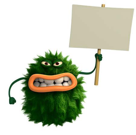 amuse: green cartoon hairy monster 3d