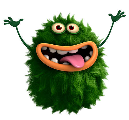 freaky: green cartoon cute monster Stock Photo