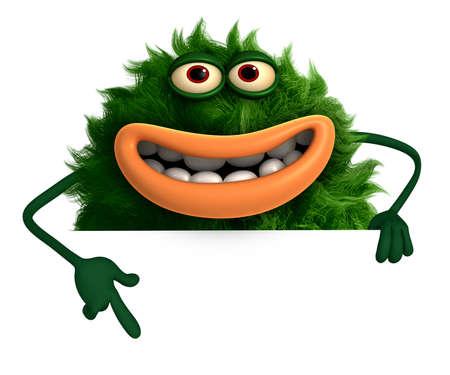 freaky: green cartoon hairy monster 3d