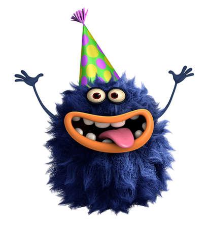 alien cool: blue cartoon hairy monster 3d