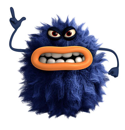 blue cartoon harige monster 3D