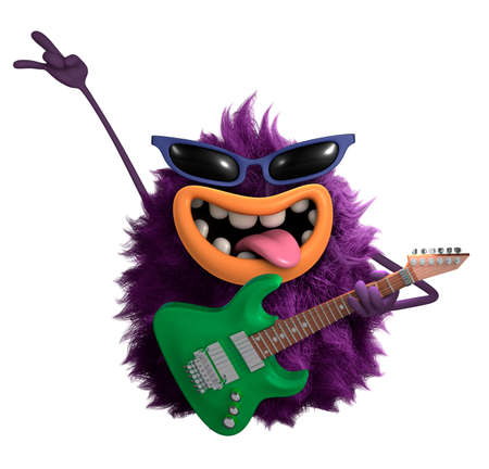 purple cartoon hairy monster 3d Stok Fotoğraf