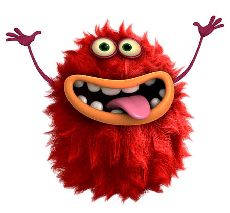 cute illustration: red cartoon hairy monster 3d