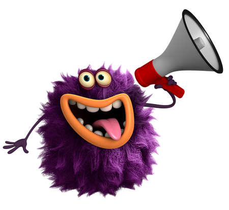 red devil: purple cartoon hairy monster 3d Stock Photo