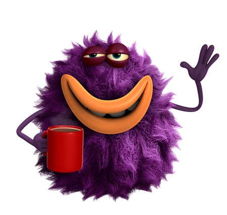cofe: purple cartoon hairy monster 3d Stock Photo