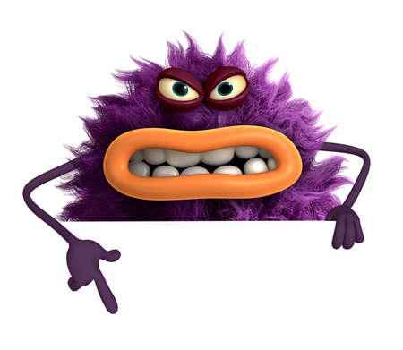 purple cartoon hairy monster 3d Zdjęcie Seryjne