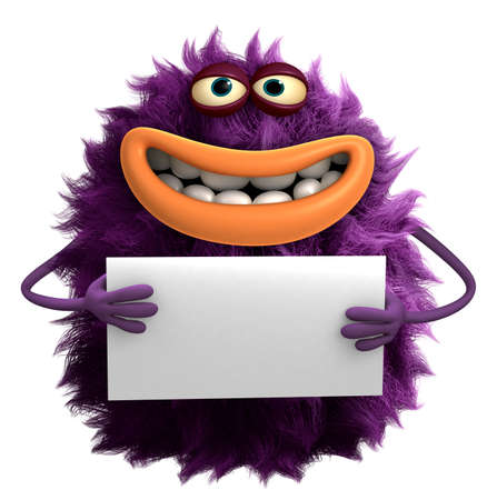 purpule: purple cartoon hairy monster 3d Stock Photo