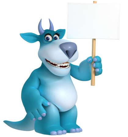 blue cartoon monster 3d photo