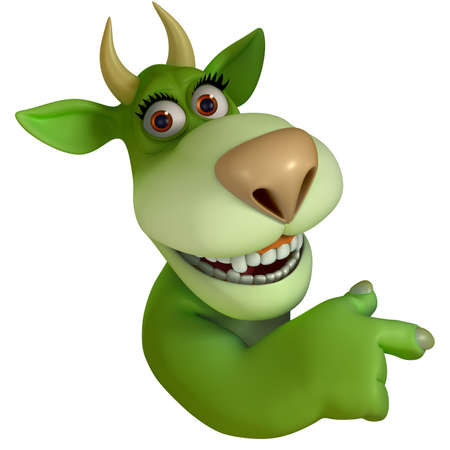 green cartoon monster 3d