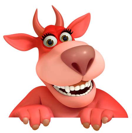 red cartoon monster 3d photo