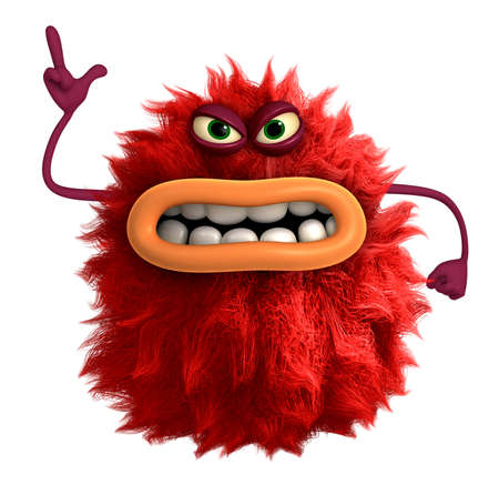 cartoon hairy monster 3d
